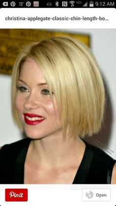 Christina Applegate - Classic chin length bob. | This razor cut bob gives Julianne Hough's shoulder-grazing hair some sophisticated edge. For the same dimension, stick to long layers and a deep side part.