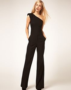 Yes it's a jumpsuit, but the solid color creates a slimming silhouette and the one shoulder design adds some interest.