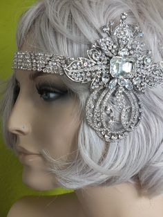 Flapper 1920s rhinestone headband great gatsby wedding headpiece