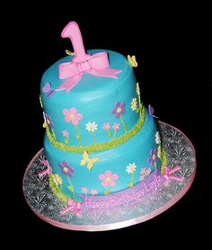 Flowers and butterflies 1st birthday 2 tier cake by Simply Sweets, via Flickr