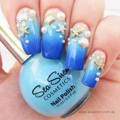 """It's Monday, It's the last day of summer here in the Land Downunder and we get an extra day of summer as it's the 29th February. So to our friends in the Northern Hemisphere - we're keeping summer just a bit longer. Sorry! One of our favourite gradient nail art designs by @liliumzz features """"Sea Dayze"""". """"Beachy Peachy"""" and """"Ultramarine in a stunning beach theme.  www.seasiren.com.au  #seasirencosmetics #nailpolish #beach #summer"""