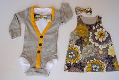 This listing is for 2 outfits- one for a baby boy, and one for a baby girl. The…