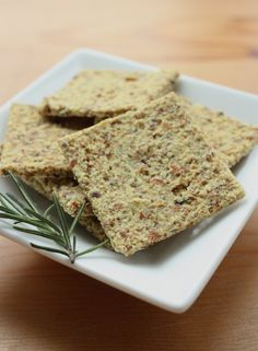 Raw Vegan Cheesy Almond Rosemary Crackers