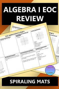 """Eliminate the """"I forgot how to do this"""" dilemma by using spiraling practice throughout the year. This EOC, 90-question resource includes everything your students need to know for your Algebra I or 8th grade class. Some topics included  are solving equations (multi-step and literal) and inequalities, linear functions, regression, quadratics, exponential growth/decay, polynomials, systems, radicals, arithmetic and geometric, transformations, exponents, and direct variation.#EOC  #Algebra I Math Activities, Teaching Resources, Teaching Ideas, Geometric Transformations, Linear Function, Growth And Decay, Exponential Growth, Solving Equations, Secondary Math"""