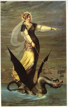 woman riding a dragon  'old world la tarasque par charles lepel'