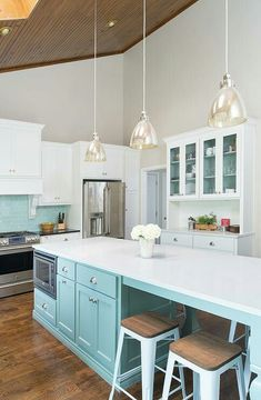 Beautiful kitchen, tiffany blue kitchen, light blue kitchen