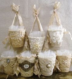 Vintage lace embellished goodie cups or May baskets...