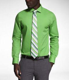 1MX Fitted Spread Collar Shirt - Express Men