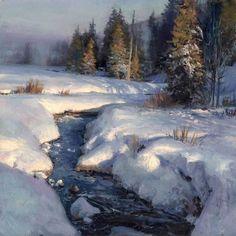 """'Late Evening, Early Winter' by Michael Godfrey Painting Snow, Forest Painting, Winter Painting, Watercolor Landscape, Landscape Art, Winter Pastels, Art Blog, All Art, Late Evening"