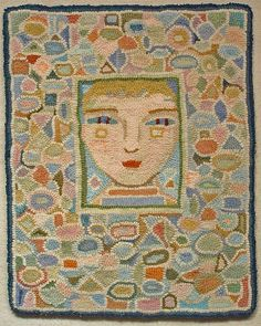 Portrait of a Boy Ann Wiley - this would make a great tapestry. Simple yet distinguishable features. Textiles, Rug Inspiration, Rug Hooking Patterns, Hand Hooked Rugs, Learn Art, Braided Rugs, Penny Rugs, Arte Popular, Wool Applique
