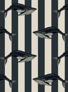 Wale für die Wand im Badezimmer: Wandbild Baleana von House of Hackney #tapete #englisch