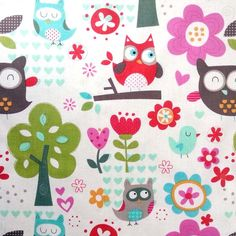 Novelty Quilt Fabric- Cream Owls In Trees, , hi-res