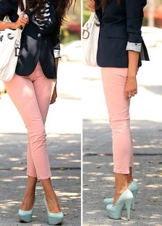 Oh, we just love this style! These gorgeous pink jeans look stunning with a black blazer and those cute robin's egg blue heels! Talk about a great work outfit! Looks Style, Style Me, Prep Style, Rosa Jeans, Easy Style, Chiffon Rock, Look Blazer, Fall Blazer, Blazer Jeans