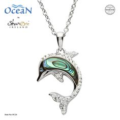 Dolphin Necklace Adorned with White Swarovski® Crystals — Ocean Jewelry Store Ocean Jewelry, Dolphin Jewelry, Cute Jewelry, Jewelry Gifts, Jewelry Box, Jewellery, Abalone Jewelry, Shell Necklaces, Dolphins