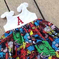#SuperHero dress #marvelcomics baby dress #avengers by #ShelbyJaneandCo #hulk #captainamerica
