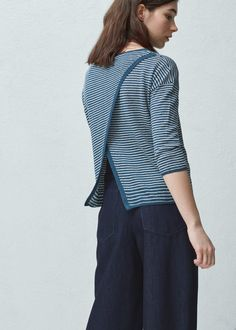Striped linen sweater | MANGO