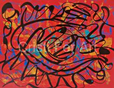 Red abstract face home and office decor195x255 by MyMexicanArt, $85.00