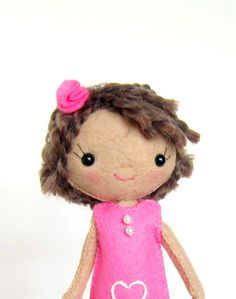Cloth Doll Handmade All Natural Wool Valentine Pink by sewfaithful, $29.00