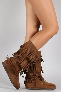 Fringe Cuff Lace Up Moccasin Flat Boots | Lace, Mid calf boots and ...