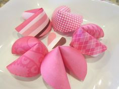 DIY Paper Valentines Day Fortune Cookies.  Please note. These are paper and only meant for decorative playfulness on Valentines Day.