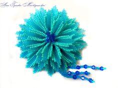 blue brooch blue flower chrysanthemum summer by BeadedjewelryGA