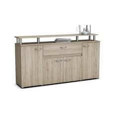 Calvi Wooden Sideboard In Sanremo Oak With 4 Doors And Drawer by Furniture In Fashion Dining Room Sideboard, Modern Sideboard, Large Drawers, Chest Of Drawers, Furniture Catalog, Solid Oak, Modern Contemporary, Shelves, Doors