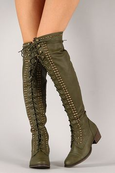 Breckelle Alabama-13 Studded Spike Military Lace Up Boot on Wanelo