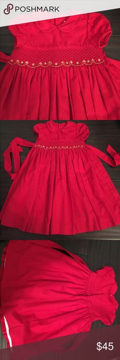 Red smocked dress - 3T Very well made red smocked dress. Had small flower details in the stocking. Tie belt and lined. Please ask if you have any questions before buying. Wonderful dress for pictures. Bundle and save. Luli & Me Dresses Formal