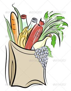 Paper Bag with Foods