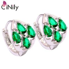 Created Green Quartz Silver Plated Earrings Wholesale Retail Fashion Party for Women Jewelry Hoop Earrings 15mm FH6624