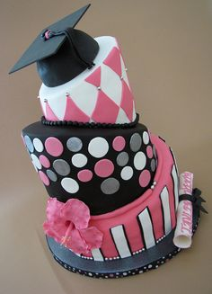 Topsy Turvy Graduation Cake by Always with Cake, via Flickr (Mom, you I'd love something like this, I don't know hou we'd cut it though :P...)