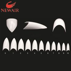 New Beige French Stiletto Acrylic Artificial False Nail Tips 100x Half Cover Fake Nail Art Tips Makeup DIY -Free Shipping
