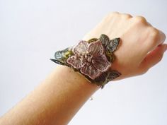 Green and Brown Lace Bracelet Women accessories  3D by bytugce, $19.00