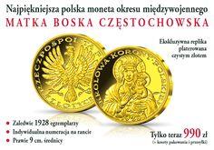 Matka Boża Królowa Polski - Replika unikatowej monety z 1928 platerowana 24-karatowym złotem