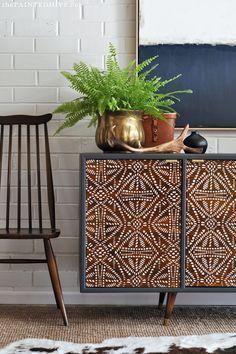 DIY Painted Pattern Furniture Makeover with Furniture Stencils - Decorated Custom Wood Cabinet Doors - Modern Mid Century - Tribal Batik Design - Royal Design Studio Stencils #diyfurnituremakeover