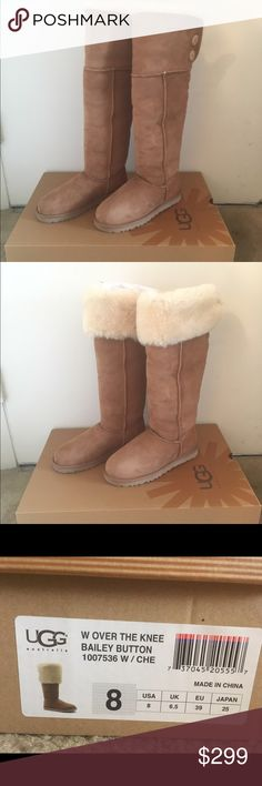 New UGG bailey button over the knee boots chestnut New in box. Size 8. Chestnut color. Usually go half size lower for uggs. UGG Shoes Over the Knee Boots