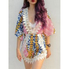 Laciness Plunging Neck Tribal PatternRomper