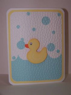 handmade Baby Card:  embedded embossing by ladybugtwin  ... luv the big dot embossing folder to embed the round bubbles  ... cute duck ...
