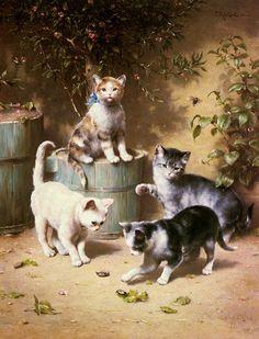 Котята и кошки на картинах..