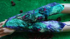 "Mittens, Hand warmers, Fairy,""Magic feelings"" Nuno felted, Handmade, in USA, Felted art, Wearable art, Organic, Fashion accessory, Fiber art by rafaelart on Etsy"