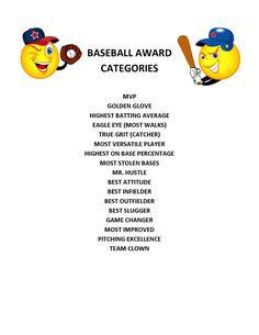 End of Season Baseball Award Categories