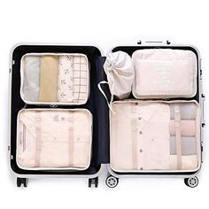 LANGUGU Compression Travel Luggage Organizers 6 Set, Mesh Clothes Bags Luggage Travel Packing Cubes with Bra Underwear Bag for Carry-on Luggage, Suitcase and Backpacking Accessories (Beige) Carry On Luggage, Travel Luggage, Travel Bags, Luggage Packing, Travel Cubes, Packing Clothes, Luggage Sets, Best Packing Cubes, Packing Tips