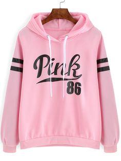 Kapuzensweatshirt+mit+Buchstaben+Druck+-+rosa+13.68