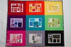 "There is so much fun COLOR in this ticker tape sample quilt by Katie's Quilting Corner!  ""This quilt is a sample for a class I'm teaching next Quarter. I love how it came together and enjoyed the process of making it so much. It would work for a large or small quilt and is perfect for using up all sorts of scraps. I pieced, appliqued, quilted inside the white part of the blocks and did the binding with Aurifil 50 wt. mako thread."""