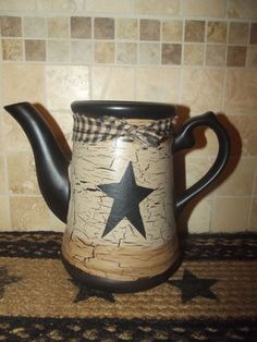 Primitive Crackle Ceramic Coffee/Teapot Vase ~ Black Stars ~ Country Decor #NaivePrimitive