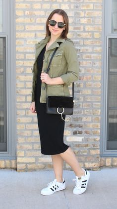 Styling sneakers with a dress - Adidas Superstars with an LBD