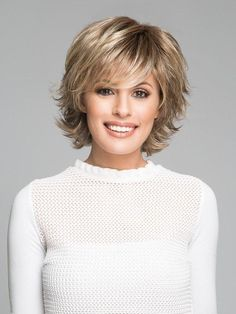Trend Setter by Raquel Welch: Color Glazed Hazelnut (Medium Brown with Ginger highlights) Short Straight Hair, Short Hair With Bangs, Short Hair With Layers, Short Hair Cuts, Short Pixie, Pixie Cuts, Long Hair, Thick Hair, Wavy Hair