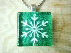 Snowflake Small Glass Tile Necklace Christmas Theme Handmade Christmas in July!