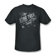 This Star Trek t-shirt brings retro style to your casual wear with a cool vintage design. Made of 100% preshrunk cotton, this regular fit adult tee makes a fun gift for sci-fi fans. Available in sizes S, M, L, XL, XXL, and XXXL.
