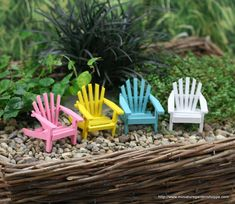 Adirondack chairs for your Fairy Garden! from Miniature Garden Shoppe Gotta see if I can make some of these, maybe out of popsicle sticks? Fairy Garden Furniture, Fairy Garden Supplies, Garden Chairs, Garden Tools, Garden Pests, Beach Fairy Garden, Fairies Garden, Garden Gazebo, Garden Fun